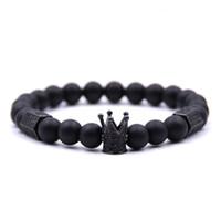 Unisex 8MM Perlen Strand Armbänder für Geschenke Hexagonal Crown Kupfer und Zirkon Hand String Armbänder Schmuck Zubehör