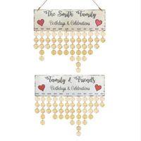 Sinal de lembrete de aniversário de madeira colorida diy calendário de mesa pendurado amigos da família lembrete de aniversário data marca home decor