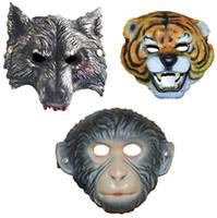 Máscara del partido EVA Animal de la historieta Tigre Lobo Mono Máscaras Navidad de Halloween Diversión Adultos Niños Accesorio de disfraces Máscara Completa