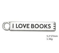 2021 Presente na moda gravada Eu amo livros sobre Bookmark Charm jóias