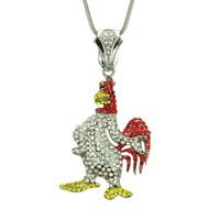 Хип-хоп Cock золото Подвески Ожерелья Подвески Bling Bling Iced Out Кристалл курица ожерелья из нержавеющей стали Rope Chain
