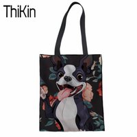 THIKIN Canvas Tote Bag Handmade Boston Terrier Impresión 3D Algodón Shopping School Travel Mujeres Plegable Hombro Bolsas de Compras