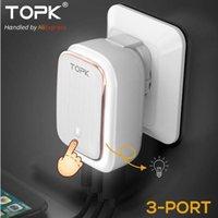 TOPK 5V 3.4A (최대) 3 포트 램프 USB 충전기 어댑터 2-IN-1 휴대용 벽면 EUUS Auto-ID 휴대 전화 충전기 for iPhone 삼성