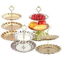 2/3 Strati Piatti di frutta Supporto per pasticceria Piattini per dolci Torta Dessert Acciaio inox Decorazione per la casa Decorazione per matrimoni
