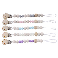 Baby Pacifier Clip Chain Wooden Pacifier Clips Holder Chupet...
