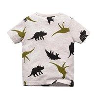 NUOVO ARRIVO Ragazzi Bambini 100% cotone manica corta cartone animato stampa dinosauro tasca t shirt ragazzi causali estate maglietta Libera nave