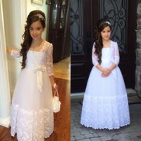 공주 긴 소매 레이스 거룩한 친교 드레스 여성 여선 대회 가운 가운 빈티지 꽃 여배우 드레스덴 Vestidos