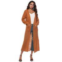 2018 الخريف المرأة كيمونو كم طويل ماكسي صوفية المفتوحة العائمة قفطان سترات معطف أبلى الأزياء الصلبة بلوزة طويلة سترة