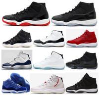 11S юбилей 25-летие 11 космических варенья DMP Gold Great Red Cap и платья баскетбола обувь мужчины женщин 72-10 разведенные Concord Platinum Tints