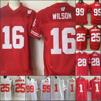 198dbbe8479 Mens Wisconsin Badgers College Jersey 1 PIGGERY 16 Russell Wilson 25 Melvin  Gordon III 99 J. J. Watt Jersey Home Away Red white