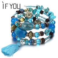 Multilayer Bohemian Beads Crystal Charms Bracelets For Women...