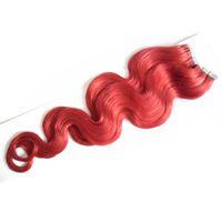 """18 """"20"""" 22 """"24"""" Bande Dans Remy Extensions de Cheveux Humains 40pcs Rouge Body Wave Trame Peau Trame Sur Adhésif Cheveux Sans Soudure 100g"""