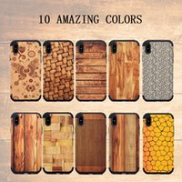 per iphoneX 8/7 plus 6s cassa del telefono legno Back Cover Shell 2 in 1 Hard PC Back Soft TPU Grind arenaceous Built in Magent