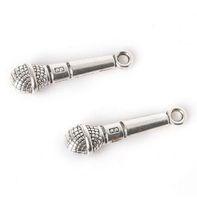 100 шт./лот старинный серебряный сплав музыка микрофон подвески подвески для diy ювелирных изделий выводы 25x8 мм