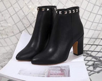 AAAAA Womens Rockstud Ankle Boot Square Heel Leather Sole 10...