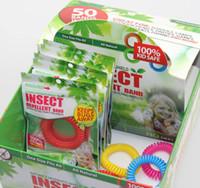 50 pz / lotto Nuovo Zanzara Repellente Braccialetto Elastico Elastico Spirale a mano a Mano Polsino Anello Del Telefono Catena braccialetto anti-zanzara