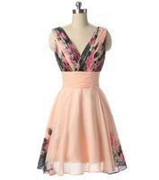 Élégant coutume a-ligne V-Col V-Court Rose Floral Robe d'honneur de demoiselle d'honneur pour femmes Longueur de genou Longueur de lacets à lacets sans manches Robes de soirée