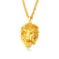 Punk Rock Hommes Pendentif Collier Lion tête Design Or Couleur Cuivre Animal Collier 610mm Longueur Partie Bijoux Pour Hommes