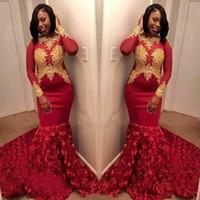 Burdeos Vestidos de fiesta 2020 Fiesta de noche formal Vestidos del desfile Africano Negro Encaje Sexy manga larga 3D Rose Flores Sheer cuello Barato