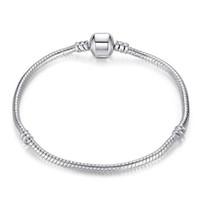 Venta de moda Mix Size Retro 925 Pulsera de plata con LOGO 17CM-21CM Snake Chains Accesorios de joyería DIY Fit European Style Beads