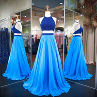 Real Halter Blue 2 Pieces Prom Dresses 2020 Beading Backless...