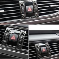 탄소 섬유 중앙 콘솔 보안 아우디 A6 C7 2012-16 자동차 스타일링을 위해 가벼운 프레임 장식 트림 스트립 경고
