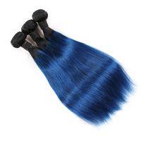El nuevo llega los paquetes brasileños del pelo humano de Ombre dos tonos 1B / Blue Remy Armadura del pelo Venta al por mayor de color Extensiones de cabello humano recto Ofertas
