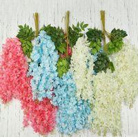 10 Renkler Beyaz Yeşil Yapay Çiçekler Simülasyon Wisteria Vine Düğün Süslemeleri Uzun Ipek Bitki Buket Kapı Odası Ofis Bahçe