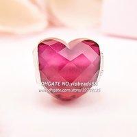 2018 Valentine Day S925 Plata esterlina Fucsia Forma de amor con CZ Granos del encanto de Pandora Pulseras colgante de cuentas Fabricación de joyas
