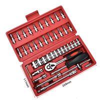46pcs 1/4-Inch Socket Set Juego de herramientas de reparación de automóviles Juego de trinquetes Llave de torsión Combinación Bit de llaves Chrome Vanadio Combinación