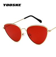 YOOSKE Retrò Cat Eye Sunglasses Donna Red Cateyes Occhiali da sole Moda Occhiali da sole leggeri per le donne Occhiali in metallo vintage