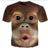 الصيف المحملة الرجال الزى 3d س الرقبة القمصان قصيرة الأكمام الحيوان t-shirt مضحك القرد 3d تي شيرت أوم S-5XL الرجال النساء قمم