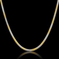 3 мм ширина нержавеющей стали женщины цепи Оптовая Collier 45 см два тона золотой цвет цепи Ожерелье для женщин ювелирные изделия