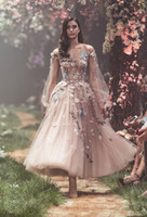 Paolo Sebastian Prom Dresses Long Sheer Neck Puffy Sleev 드레스 파티 이브닝 ​​발목 길이 3D Applique 라인 파티 가운