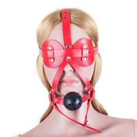 PU cuero cabeza arnés sexy venda los ojos sólidos boca bola mordaza juegos para adultos sexo esclavo Bdsm Bondage restricciones juguetes sexuales para parejas