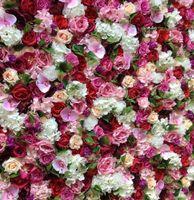 Fondo de la boda de la pared artificial de la flor 3D Nueva Hydrangeas Royal Rose Pilar Fake Flower Plate Road Lead Inicio