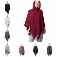 Hollow Hooded Tassel Poncho 9 Colors Knitted Hooded Women Ho...