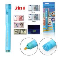 2 em 1 Caneta Detector de Dinheiro Falsificado Dinheiro Portátil Marcador Moeda Detector Testador Caneta Dinheiro Luz UV