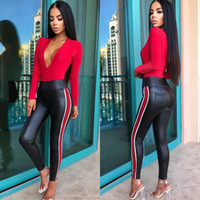 Side Stripe PU Pants Women Faux Leather Mid Waist Solid Blac...