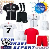 351cb48d208 Nova psg Liga dos Campeões de futebol Jerseys 18 19 preto branco Fora  homens set MBAPPE CAVANI DI MARIA 2018 2019 adulto kit camisa Red goalkeeper  ucl