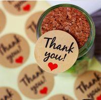 """Etichetta adesiva Kraft Paper """"Thank You"""" con cuore rosso, diametro 38mm Etichetta adesiva con sigillo per decorazione regalo fai da te e pasticceria da forno"""