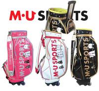 1PC Top Luxury M-U SPORTS Donna Borsa da golf per donna Borsa da golf con ruote e tirante Top in cristallo PU materiale