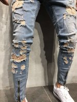 Ripped Distressed 2018 Jeans Mens Clothing Zipper Pencil Pan...