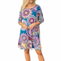 The seven - point cuff pocket folk style printed large dress