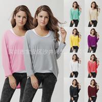 Las mujeres sueltan Irregular Color sólido Camisetas de algodón Suéteres multicolores de moda de punto de cuello redondo ropa de maternidad 10Colors Plus Size