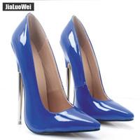 2018 جديد 18CM المرأة الترا مضخات الكعوب العالية أشار تو الكعوب مثير الوثن الخنجر رقيقة السيدات حفل زفاف أحذية الرجل تأثيري الأزرق الأحذية