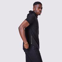 Novos Homens Com Capuz Camiseta Hipster Hip Hop T Camisa Dos Homens Longline Zipper O-pescoço T Camisas de Manga Curta Cool Tees Homens Hoodies Com Capuz