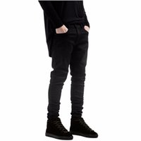 الرجال مستقيم أسود رجال الدينيم جينز نحيل الجينز جميع أسود صالح سليم مستقيم جينز الرجال الصلبة اللون شارع العليا السائق جان