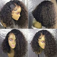 Side Parting Brown Black Short Kinky Curly Cheap Wigs with B...