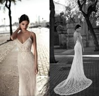 Lace Mermaid Backless Wedding Dresses 2018 Spaghetti Straps ...